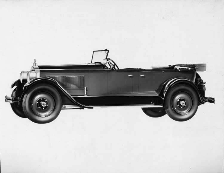 1925-1926 Packard phaeton, left side view, top lowered