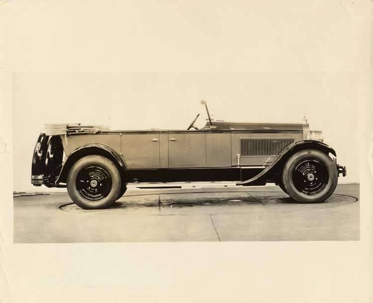 1925-1926 Packard touring car, right side view, top lowered