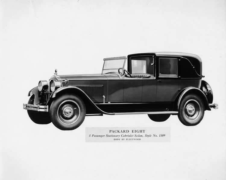 1926 Packard eight two-toned, 5-passenger stationary cabriolet sedan, body by Fleetwood