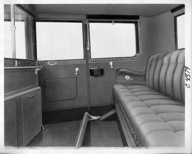 1926 Packard sedan limousine, view of rear interior through left side door