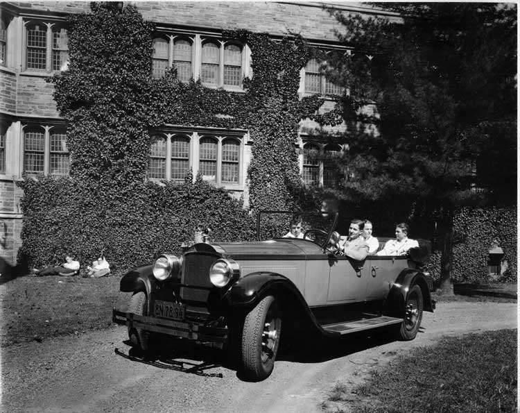 1927 Packard touring car with Charles Eastman at wheel at Princeton University