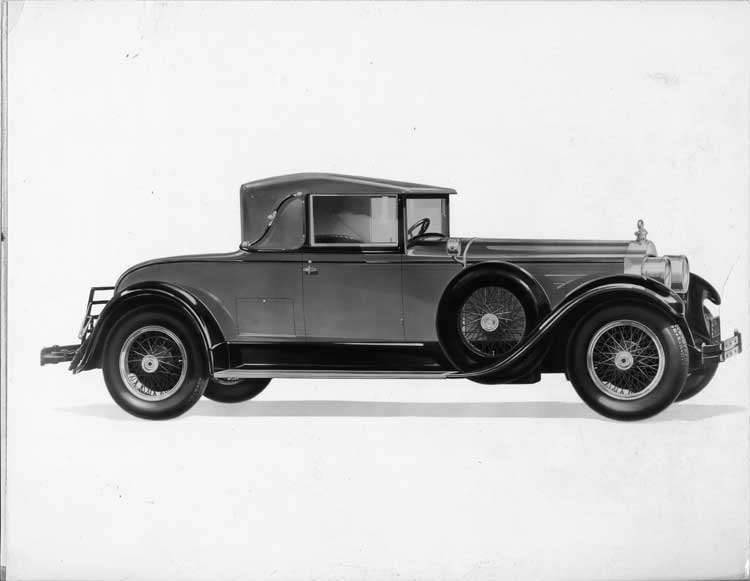 1928 Packard convertible coupe, seven-eights right front view, top raised
