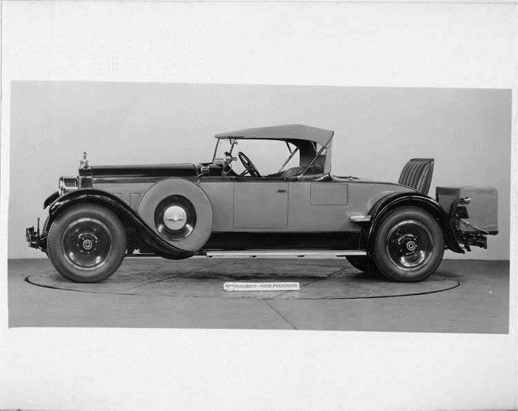 1928 Packard runabout, nine-tenths left front view, top raised, rear deck open