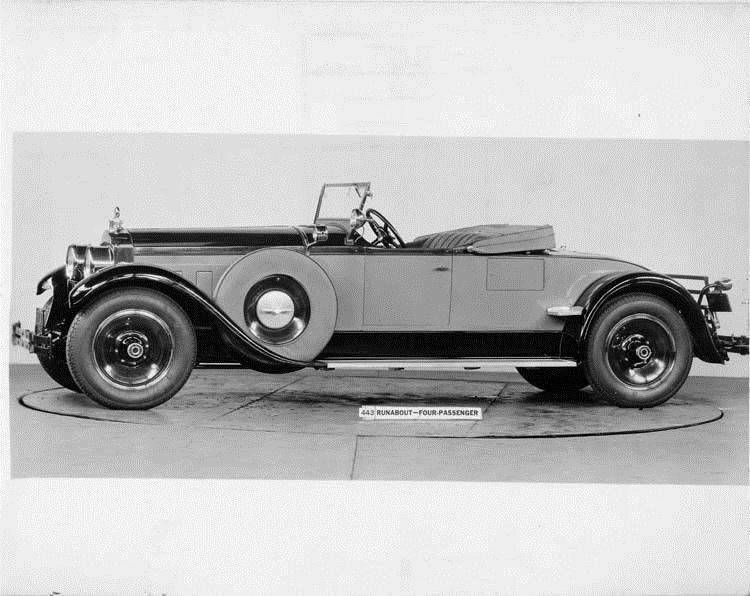 1928 Packard runabout, seven-eights left front view, top lowered