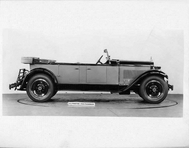 1928 Packard phaeton, right side view, top folded