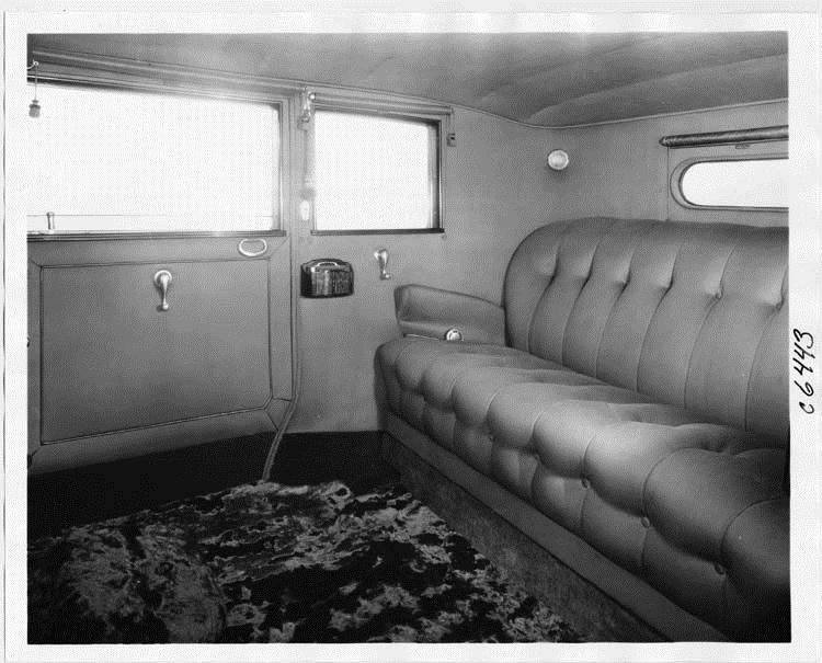1931 Packard all weather town car, view of rear interior through left side door