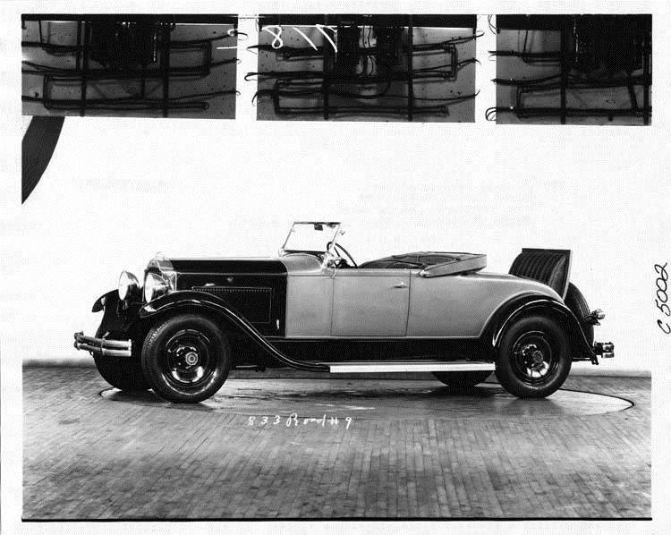 1931 Packard roadster, nine-tenths left side view, top folded