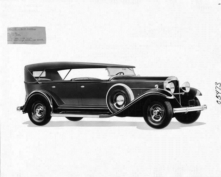 1932 Packard phaeton, three-quarter right side view, top raised