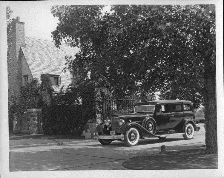 1934 Packard sedan leaving Packard Proving Grounds, Utica, Mich.