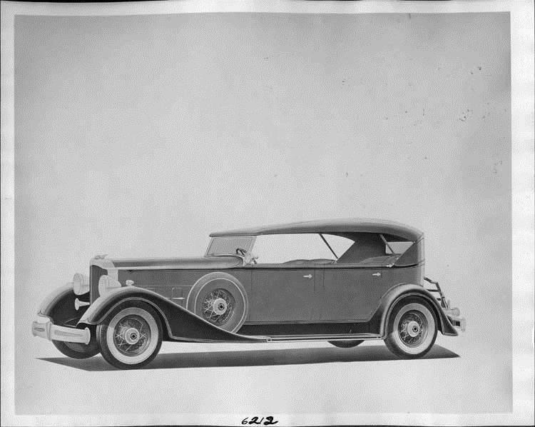 1934 Packard phaeton, nine-tenths left side view, top raised