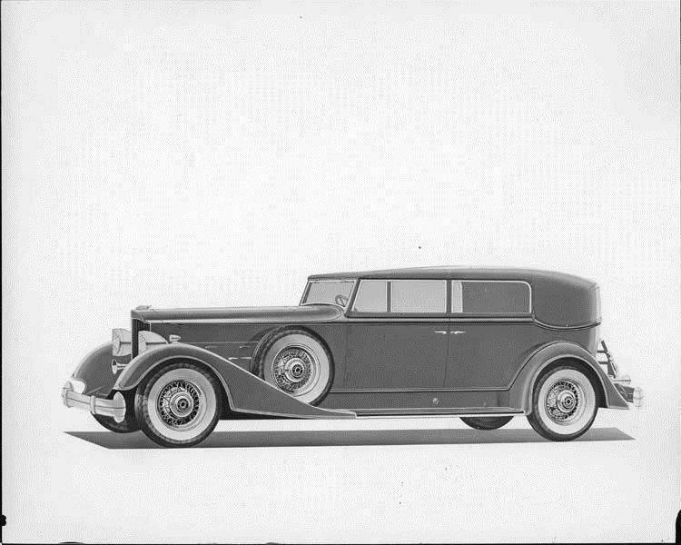 1934 Packard convertible sedan, nine-tenths left side view, top raised