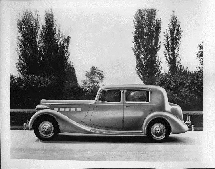 1935 Packard club sedan, left side view
