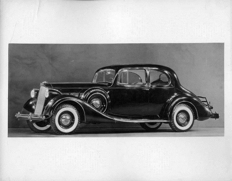 1937 Packard coupe, nine-tenths left side view