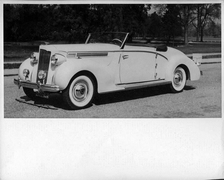 1940 Packard convertible, three-quarter left front view, top folded