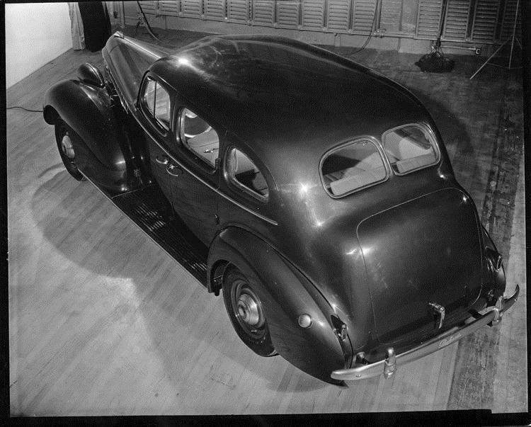 1940 Packard touring sedan, elevated rear view