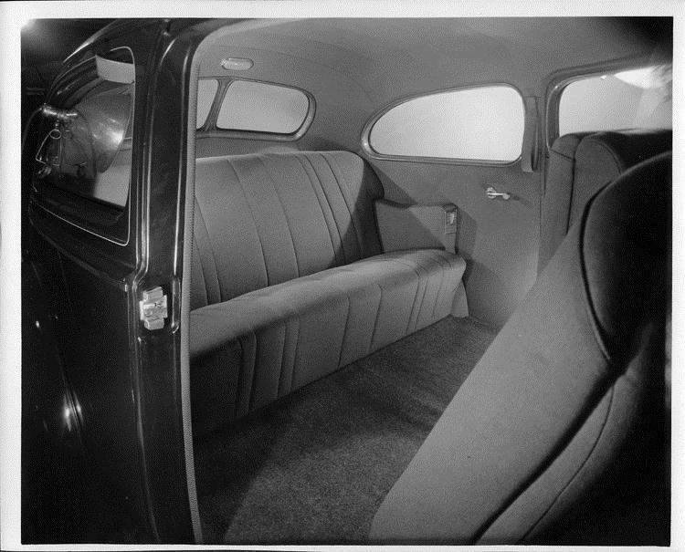1940 Packard family sedan, view of rear interior through passenger side door