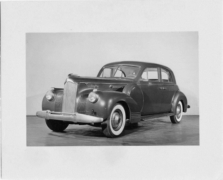1941 Packard sport brougham, three-quarter front view