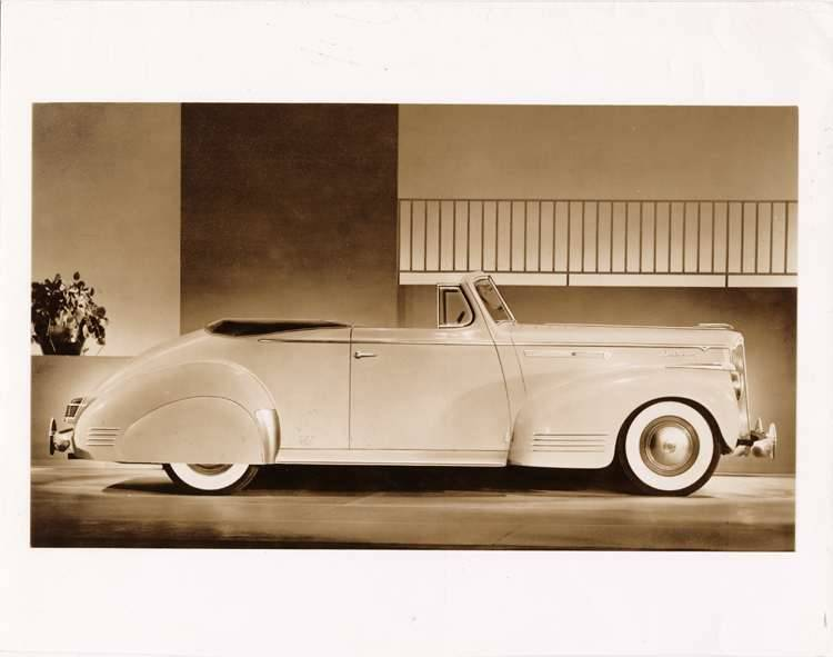 1942 Packard convertible coupe, right side view, top folded