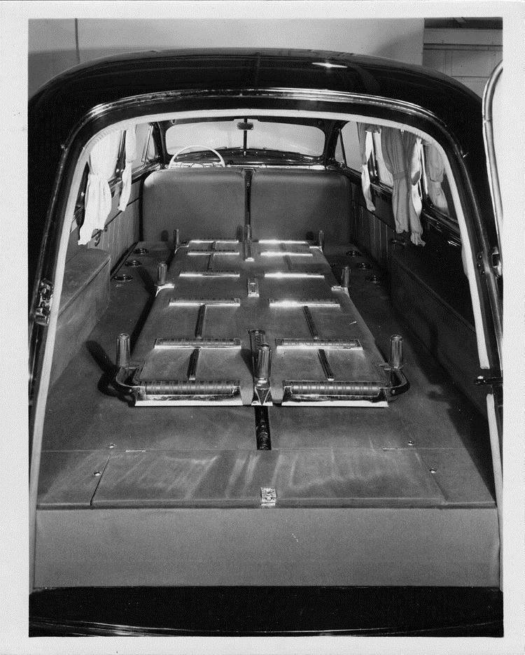 packard motor car information 1946 packard funeral limousine view of rear interior through. Black Bedroom Furniture Sets. Home Design Ideas