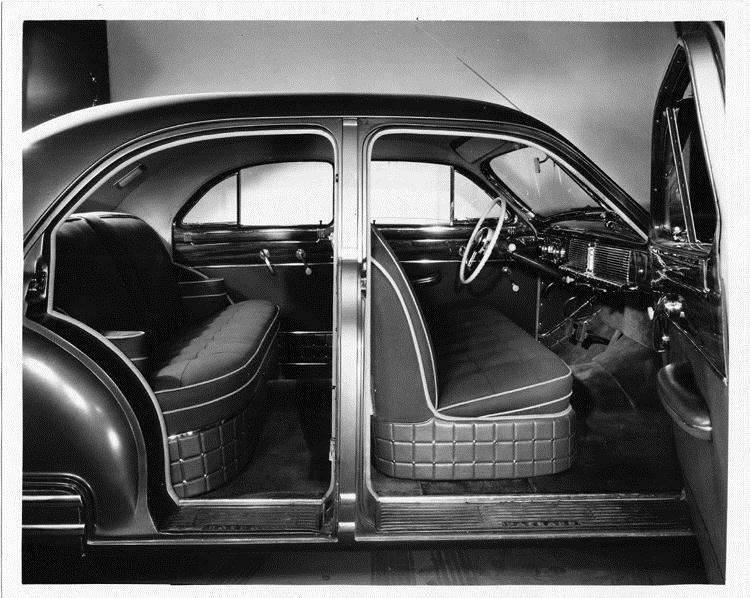 1948 Packard touring sedan, view of interior from right, both doors open