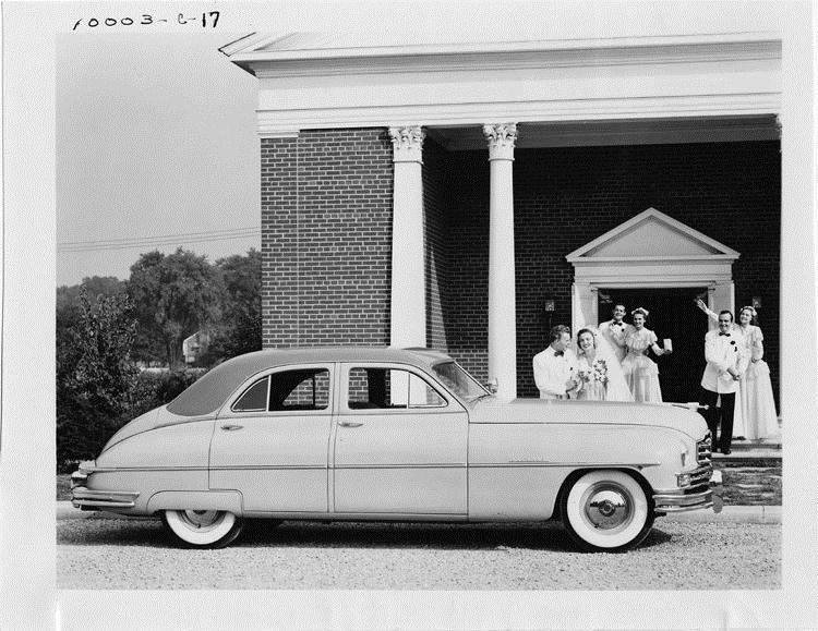 1949 Packard sedan waiting for bride and groom