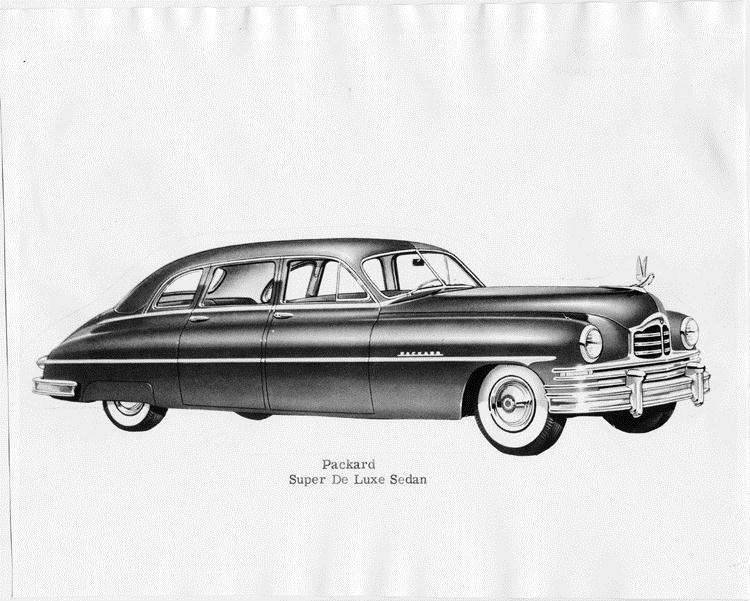 1950 Packard super deluxe sedan, seven-eights right side view