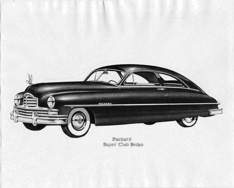 1950 Packard super club sedan, seven-eights left side view