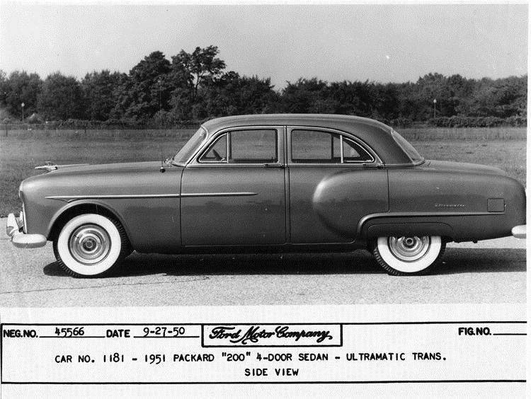1951 Packard 200 sedan, left side view