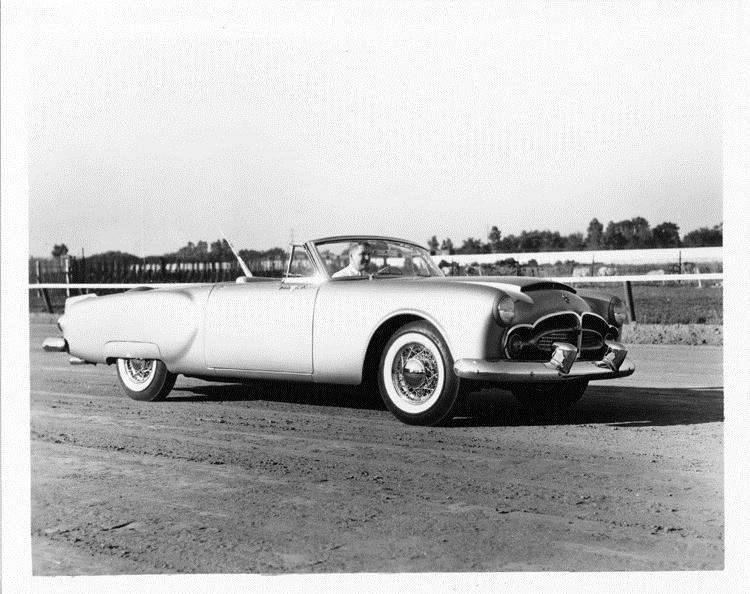 1952 Packard Pan American sports car, M.J. Kollins behind wheel