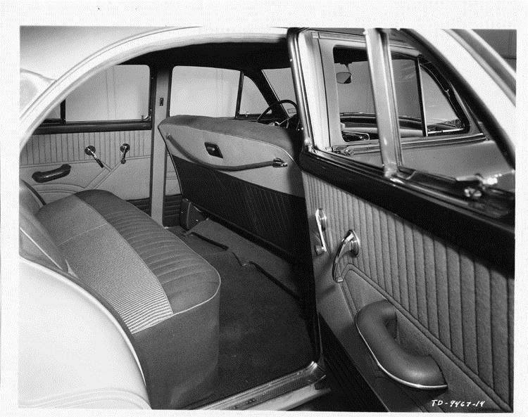1954 Packard Super Clipper, view of rear interior through door