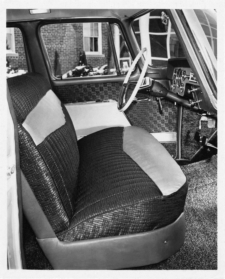 1957 Packard sedan, view of front interior, dashboard, steering wheel