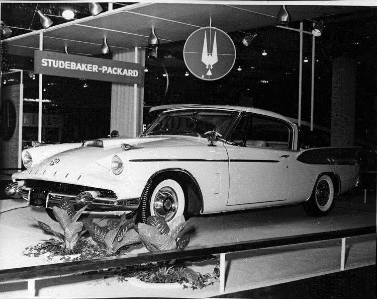 1958 Packard Hawk, three-quarter left side view, on display