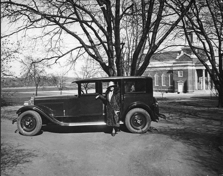 1927 Packard sedan with owner Mrs. Mabel S. Douglas, dean of New Jersey College for Women