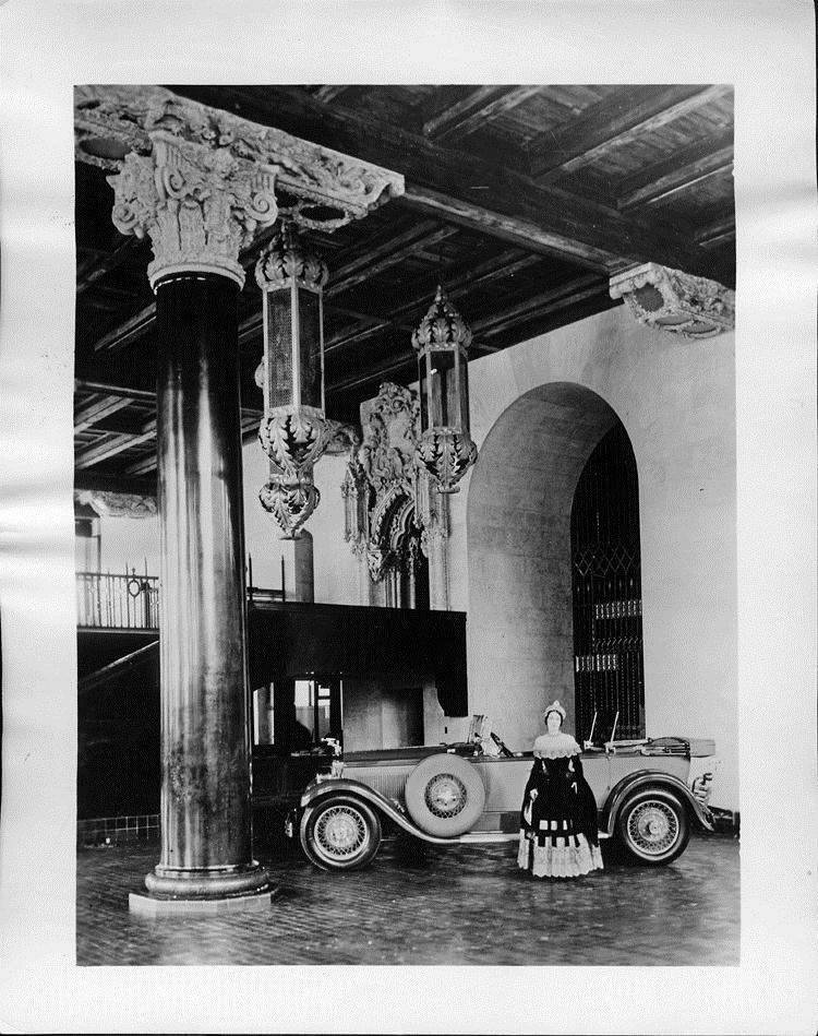 1927 Packard phaeton, in showroom with actress Miss Lita Chevret