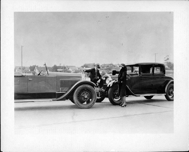 1927 Packard coupe and runabout with racing driver Harry Hartz and Mrs. Hartz