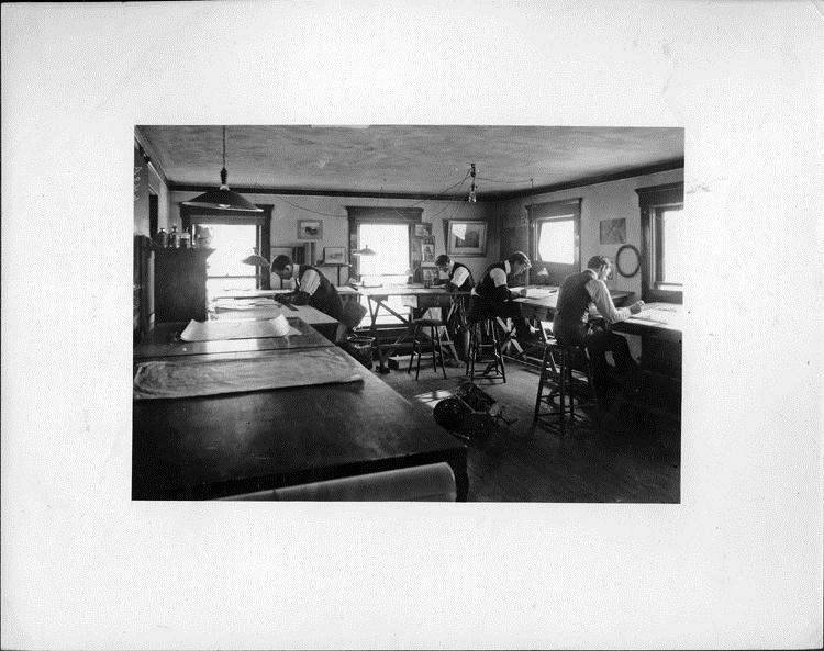 Packard Motor Car Co. drafting room in Warren Ohio, 1901