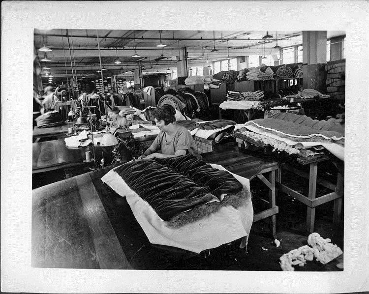 Women sewing car seats in Packard upholstery department, 1925
