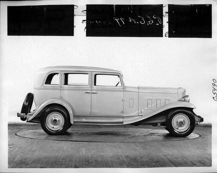 1932 Packard prototype sedan, right side view, light in color