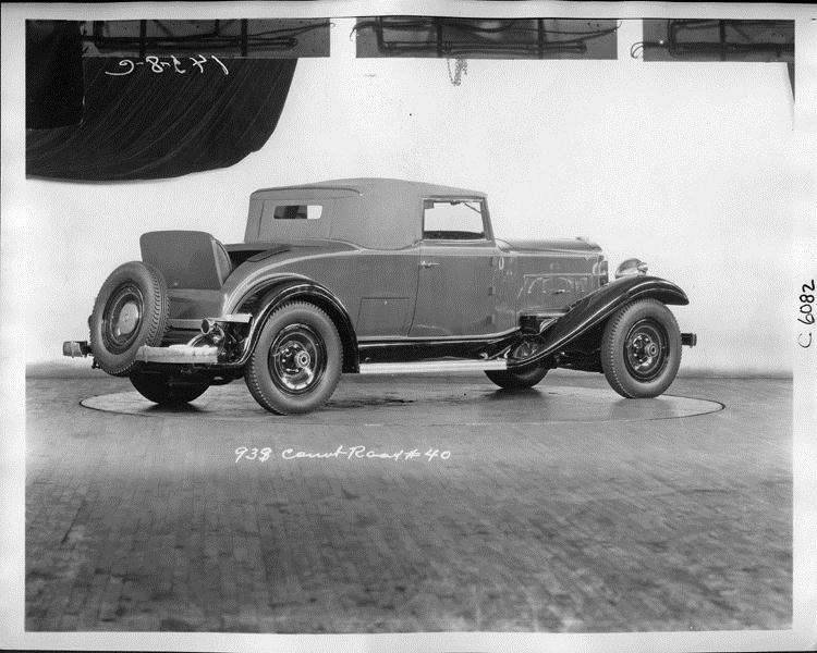 1932 Packard prototype coupe roadster, three-quarter rear right view, top raised