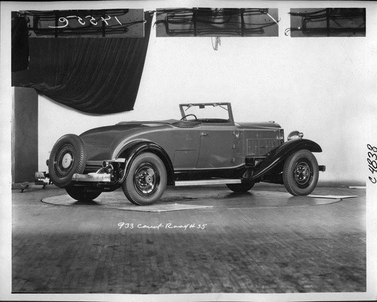 1932 Packard prototype coupe roadster, three-quarter rear right view, top folded