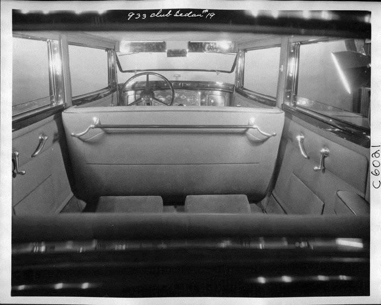1932 Packard prototype club sedan, view of interior through rear window