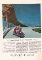 1932 Twin-Six Advertisement on the banked Packard Proving Grounds Circuit