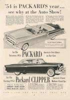 1954 PACKARD CARIBBEAN AND CLIPPER ADVERT-B&W