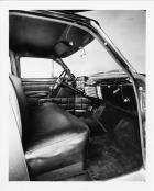 1953 Packard corporate limousine, view of front interior through passenger door